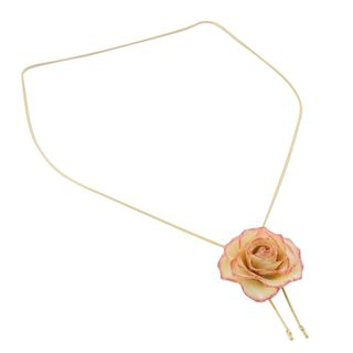 Gold Plate and Natural Rose Lariat Necklace, 'Old Fashioned Garden Rose' (Thailand)