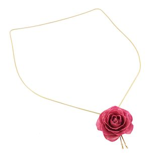 Gold Plate and Natural Rose Lariat Necklace, 'Garden Rose In Fuchsia' (Thailand)