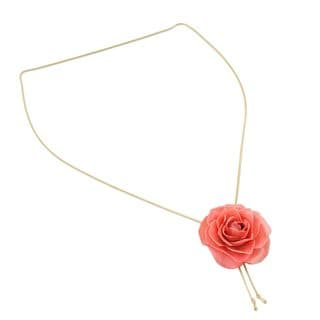 Gold Plate And Natural Rose Lariat Necklace, 'Garden Rose In Pink' (Thailand)