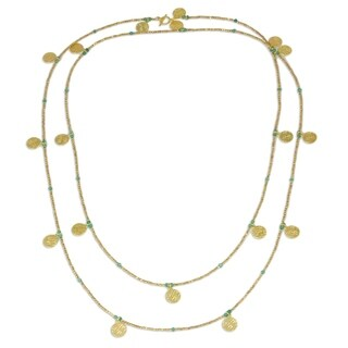 Gold Plated Chalcedony Waterfall Necklace, 'Golden Rain' (Thailand)