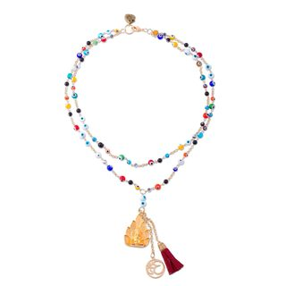 Gold Plated Glass Beaded Y Necklace, 'Ganesha Eyes' (Mexico)