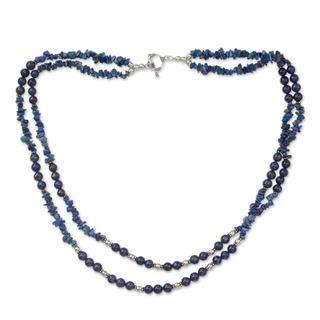 Lapis Lazuli Strand Necklace, 'Blue Mystique' (India)