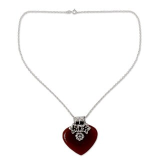 Handmade Carnelian Heart Necklace, 'Love Declared' (India)