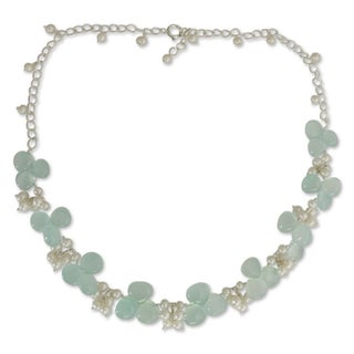 Pearl and Chalcedony Beaded Necklace, 'Aqua Enchantment' (India)