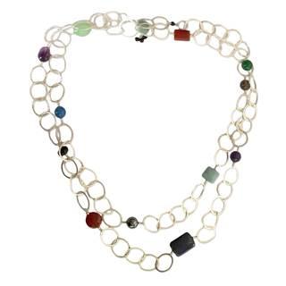Handmade Jade and Lapis Long Necklace, 'Crisscross' (India)