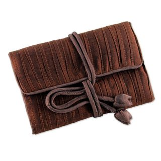 Silk Blend Jewelry Roll, 'Enchanted Journey In Russet' (Thailand)