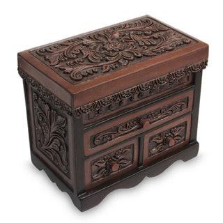 Cedar and Leather Jewelry Box, 'Avian Haven' (Large) (Peru)