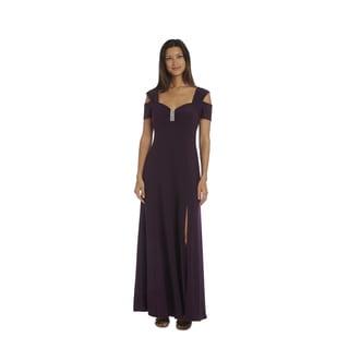 R&M Richards Plum Cold Shoulder Gown