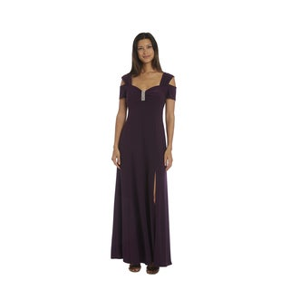 R&M Richards Plum Cold Shoulder Gown
