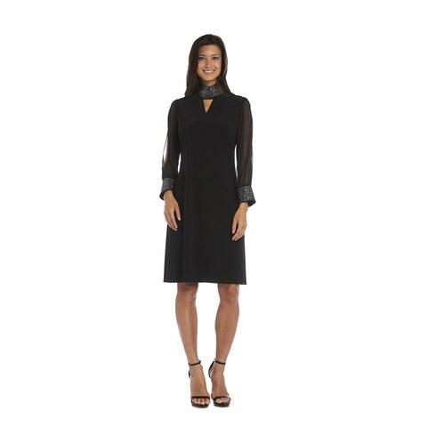 R&M Richards Black Mock Neck Dress