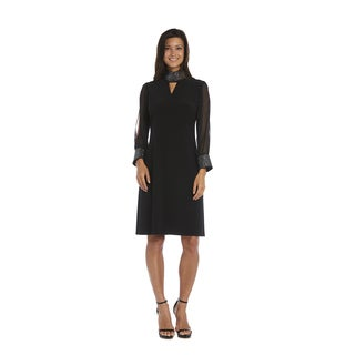 R&M Richards Black Mock Neck Dress