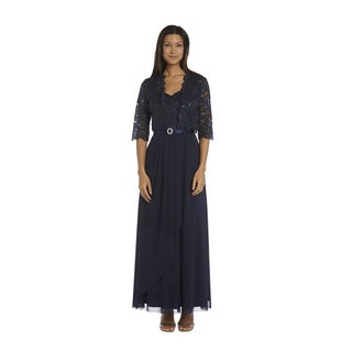 R&M Richards Navy Lace Jacket Dress