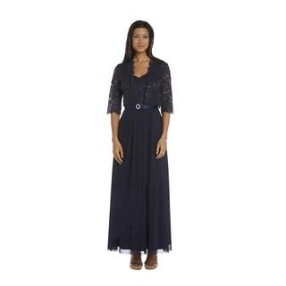 R&M Richards Navy Lace Jacket Dress