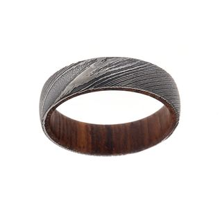 6MM Damascus Steel Ring With Rosewood Sleeve
