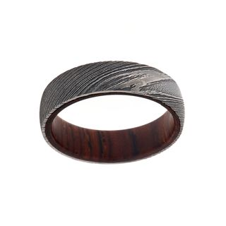 6MM Damascus Steel Ring With Cocobolo Wood Sleeve