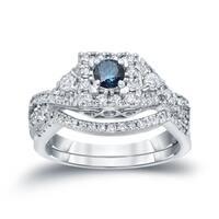Auriya 14k 3/4ct TDW Vintage Inspired Blue 3-Stone Diamond Halo Engagement Ring Set