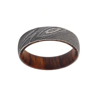 6MM Damascus Steel Ring With Iron Wood Sleeve For Men