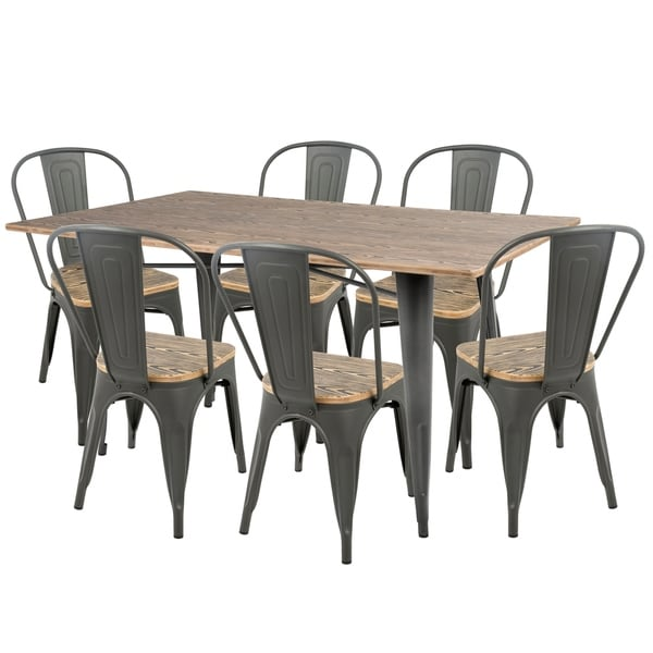 LumiSource Oregon Industrial Farmhouse 7-Piece Dining Set. Opens flyout.