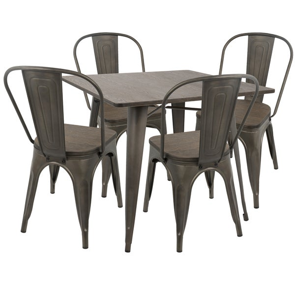 LumiSource Oregon Industrial Farmhouse Dining Table And 4 Chairs Set Of 5