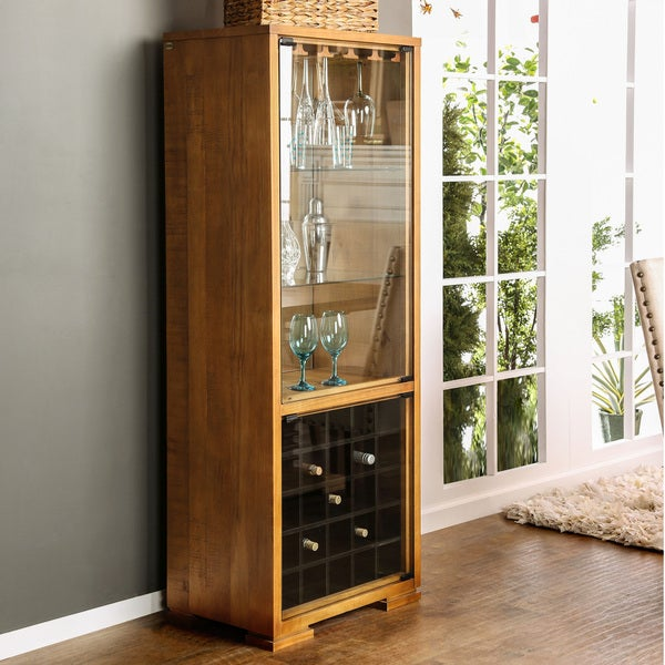 Furniture Of America Gisel Country Style Multi Storage Oak Wine Cabinet