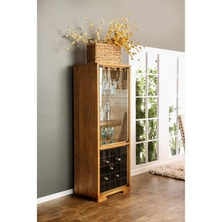 Furniture of America Gisel Country Style Multi-Storage Oak Wine Cabinet