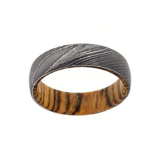 6MM Damascus Steel Ring With Bocote Wood Sleeve
