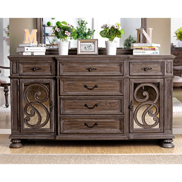 shop furniture of america dianne scrolled mirrored multi storage rustic natural tone dining. Black Bedroom Furniture Sets. Home Design Ideas