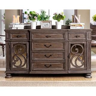 Furniture of America Dianne Scrolled Mirrored Multi-storage Rustic Natural Tone Dining Server