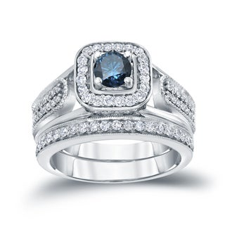Auriya 14k 3/4ct TDW Blue Round Diamond Vintage Inspired Bridal Ring Set (H-I, I1-I2)