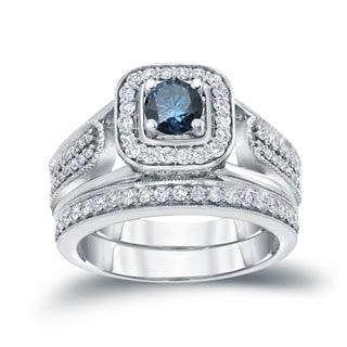 Auriya 14k 3/4ct TDW Blue Round Diamond Vintage Inspired Bridal Ring Set (H-I, I1-I2)