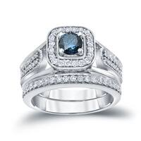 Auriya 14k 3/4ct TDW Round Blue Diamond Halo Engagement Ring Set