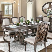 Furniture of America Dianne Scrolled Double Pedestal Rustic Natural Tone Dining Table with 18-inch Leaf - Brown