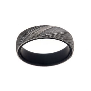 6MM Damascus Steel Ring With African Blackwood Inside Sleeve