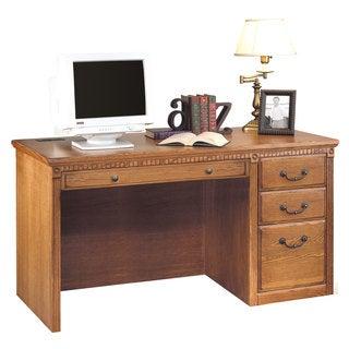 Havington Overbrook Wheat Wood Single Pedestal Computer Desk