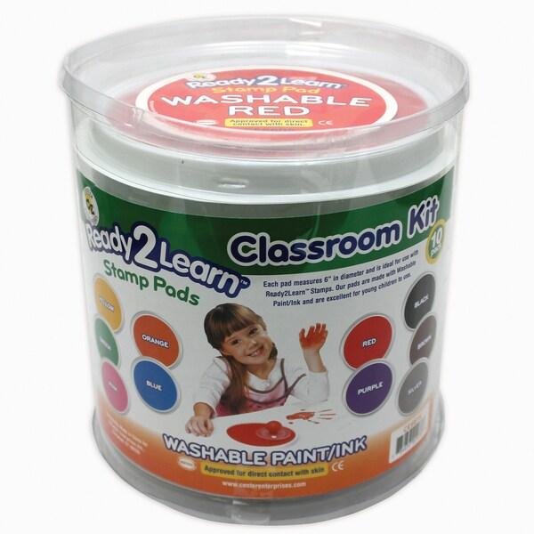 Center Enterprises Jumbo Circular Washable Paint/Ink Pad, Classroom Kit, 10 Colors