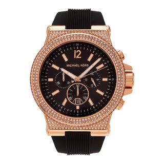Michael Kors Women's 'Dylan' MK8557 Rose Goldtone Stainless Steel Crystal Chronograph Black Silicone Strap Watch