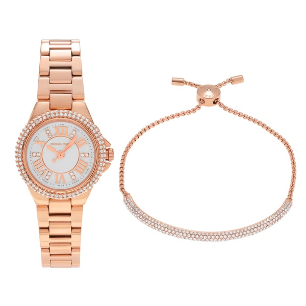 893c7e47d18a1 Shop Michael Kors Women s MK3654  Camille  Rose Goldtone Stainless ...
