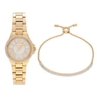 Michael Kors Women's MK3653 'Petite Camille' Goldtone Stainless Steel Crystal Link and Slider Bracelet Watch Set