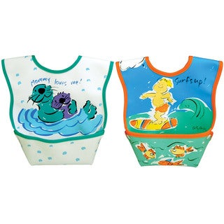 Dexbaby Small Waterproof Dura-Bib 2 Pack (Surf, Otters)