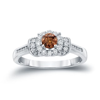 Auriya 14k Gold 1/2ct TDW Brown Diamond Engagement Ring (H-I, I1-I2)