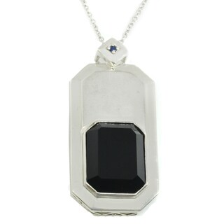 Michael Valitutti Palladium Silver Emerald Cut Black Onyx & Blue Sapphire Men's Pendant