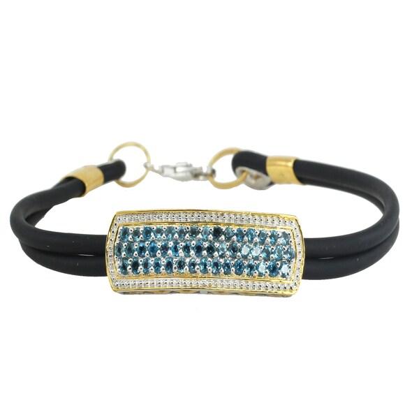 Michael Valitutti Palladium Silver Multi London Blue Topaz Dual Rubber Cord Men's Bracelet