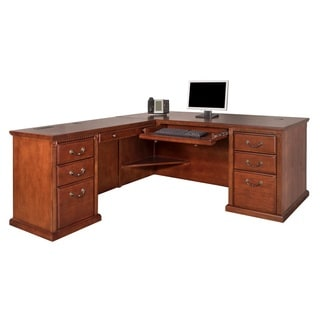 Havington Oversbrook Office Brown Burnish Wood Left L-Shaped Desk