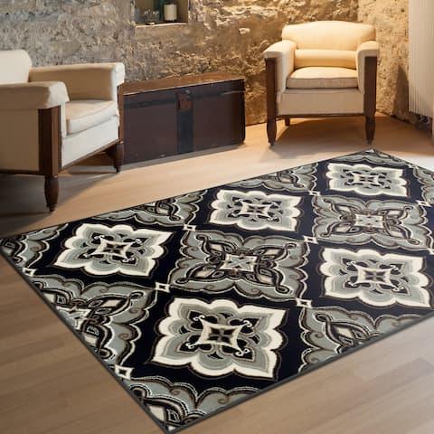 Traditional Geometric Medallion Indoor Black Area Rug by Miranda Haus