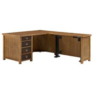 Hermitage Electric Lift Brown Finish Wooden L-shaped Desk