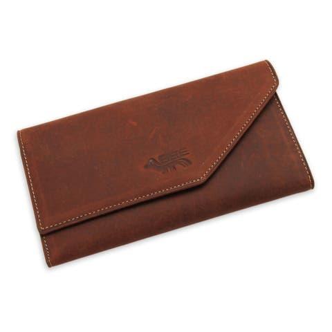 Handmade Leather Wallet, 'Inca Hummingbird' (Peru)