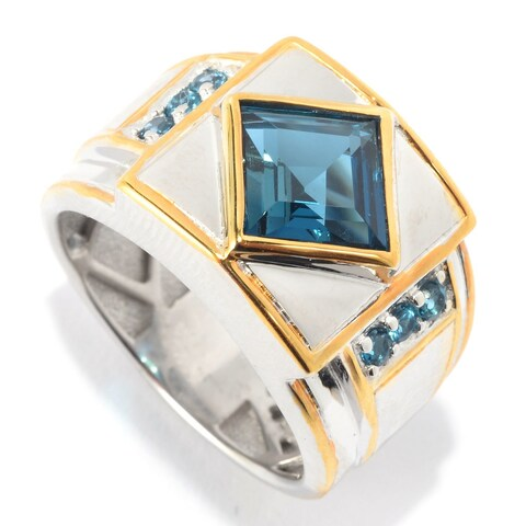 Michael Valitutti Palladium Silver Princess Cut London Blue Topaz Band Men's Ring - Size 10