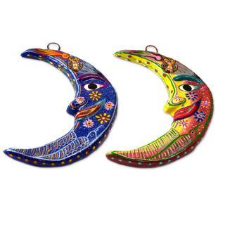 Ceramic Wall Adornments, 'Crescent Moon Magic' (Set of 3) (Guatemala)