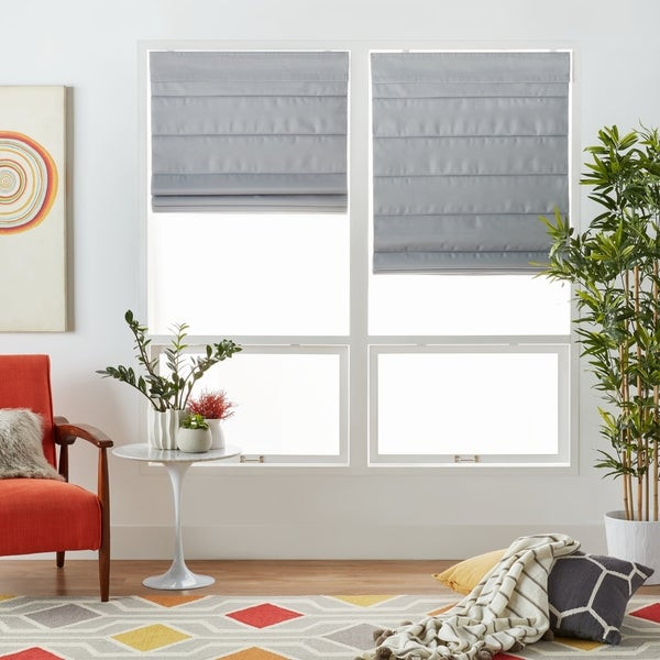 overstock roman shades overstock com arlo blinds grey fabric room darkening cordless lift roman shades shop