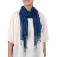 Handmade Silk Scarf, 'Azure Summer' (Thailand)